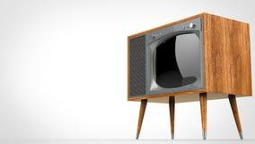 Set televisivo d'annata di legno con la parte anteriore d'argento illustrazione vettoriale