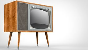 Set televisivo d'annata di legno con le gambe royalty illustrazione gratis