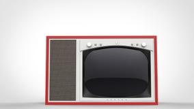 Set televisivo d'annata rosso della vecchia scuola - vista frontale illustrazione vettoriale