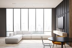 Set televisivo e sofà grigi e di legno del salone illustrazione di stock