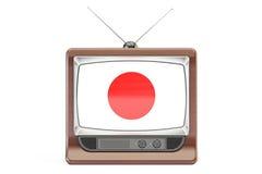Set televisivo vecchio con la bandiera del Giappone Concetto della televisione, rappresentazione 3D Immagine Stock
