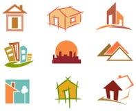 set tema för olik för godshussymbol fast egendom för logotyper verklig vektor illustrationer