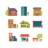 set tema för olik för godshussymbol fast egendom för logotyper verklig Royaltyfri Fotografi