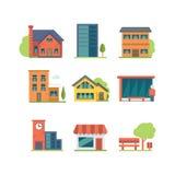 set tema för olik för godshussymbol fast egendom för logotyper verklig Arkivfoton