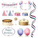 Set tematy dla urodziny Fotografia Royalty Free