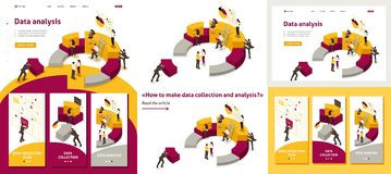 Isometric Collecting and Analyzing Data stock illustration