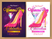 Set of Template, Banner or Flyer for Women's Day. Creative Template, Banner or Flyer design with beautiful heel sandals for Women's Day Party celebration Royalty Free Illustration