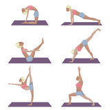 Set of template with blonde girl doing yoga exercises, good for yoga studio, yoga class, yoga center. Stock Photo