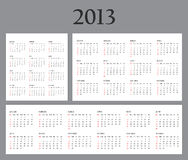 Set of Template Calendars for 2013 Stock Image