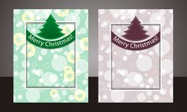 Set template Christmas background with ribbon and fur-tree. Vector Royalty Free Stock Images