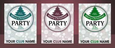Set template Christmas party invitation background with circle and fur-tree. Vector Stock Image