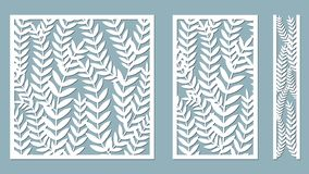 Set template for cutting. Fern Leaves pattern. Laser cut. Vector illustration. Pattern for the laser cut, serigraphy, plotter and vector illustration