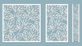 Set template for cutting. Leaves pattern. Laser cut. Vector illustration. Pattern for the laser cut, serigraphy, plotter and vector illustration