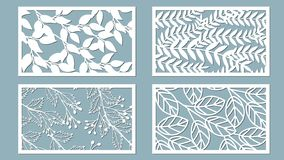 Set template for cutting. Palm leaves pattern. Laser cut. Vector illustration. Sticker set. Pattern for the laser cut, serigraphy. Plotter and screen printing royalty free illustration