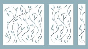 Set template for cutting. Pattern leaves, branches, vine. Vector illustration. For laser cutting, plotter and silkscreen printing stock illustration
