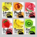 Set template design card, brochure with decoration fruit and berry. Postcard, banner, invitations, flyers for organic Stock Photography
