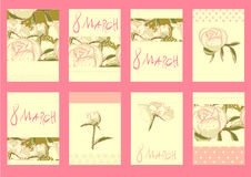 Set of template design for greeting card 8March. Big set of floral 8March graphic design elements graphic, wreaths, ribbons and labels. for greeting card Stock Images