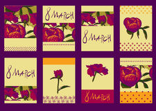 Set of template design for greeting card 8March. Big set of floral 8March graphic design elements graphic, wreaths, ribbons and labels. for greeting card Stock Photo