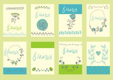 Set of template design for greeting card 8March. Big set of floral 8March graphic design elements graphic, wreaths, ribbons and labels. for greeting card Royalty Free Stock Photos