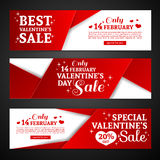 Set template design Happy valentine`s day card. Collection price tag with red color tape and special valentine`s sale Stock Image