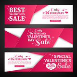 Set template design Happy valentine`s day horizontal banner. Flyer with red color tape and special valentine`s sale text Stock Photo