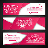 Set template design Happy valentine`s day horizontal banner. Flyer with red color tape and special valentine`s sale text Royalty Free Stock Photo