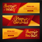 Set template design Merry Christmas horizontal banner. Flyer with shiny gold background. And Happy holiday text. Banner for new year sale. Christmas offer Royalty Free Stock Photography