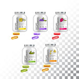 Set of Template dietary nutrition containers. Plastic Jars and capsules pills. Vector Illustration isolated objects Royalty Free Stock Images