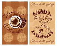 Set of Template Flayer or Menu design for coffeehouse. Backgroun. D with cup of coffee and croissant for restaurant or cafe. Hand written calligraphic text Enjoy Stock Photos
