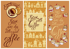 Set of Template Flayer or Menu design for coffeehouse. Backgroun. D for restaurant or cafe. Hand written calligraphic text Enjoy the moment, Start your day with Stock Image