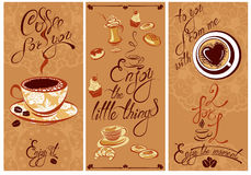 Set of Template Flayer or Menu design for coffeehouse. Background. For restaurant or cafe. Hand written calligraphic text Enjoy the moment, Coffee for you, etc Royalty Free Stock Photo