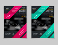 Set template of flyers or brochures or magazines  covers  on  black background Stock Photos