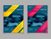 Set template of flyers or brochures or magazines  covers  on  dark blue marine background Royalty Free Stock Photo