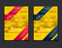 Set template of flyers or brochures or magazines  covers  on  yellow background Royalty Free Stock Photo