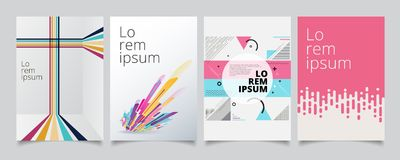 Set template geometric covers design, gradient colorful halftone. With lines pattern background. Vector illustration vector illustration