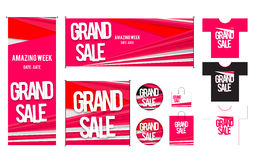 Set of template for Grand sales design Stock Photo