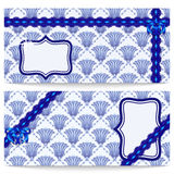 Set template greeting or gift cards with blue flowers in the style of oriental paintings. Openwork ribbon and satin bow. Royalty Free Stock Photos