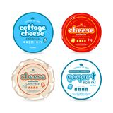 Set of template label for cheese and yogurt. Graphic design of round labels with lettering