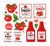 Set of template labels for tomato ketchup Stock Images