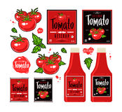 Set of template labels for tomato ketchup Royalty Free Stock Photography