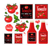 Set of template labels for tomato ketchup red Stock Photo