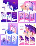 Isometric Learning Content for Social Network. Set Template Landing page, app design, Isometric concept 3D design, learning, content for social network vector illustration