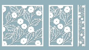 Set template for laser cutting and Plotter. Flowers, leaves for decoration. Vector illustration. Sticker set flowers. plotter and vector illustration