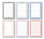 Set of  template for letter, card or charter. With empty space for text. White paper form with  decorative ornamental border. A4 format size. Series of Cards Royalty Free Stock Image