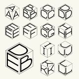 Set 1 template of the letters inscribed in the three sides of the cube, hexagon.  To create monograms, logos and emblems. Royalty Free Stock Photography