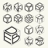 Set 2 template of the letters inscribed in the three sides of the cube, hexagon.  To create monograms, logos and emblems. Stock Photo