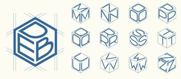 Set 2 template of the letters inscribed in the three sides  the cube, hexagon.  Stock Image
