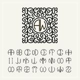 Set  template letters to create monograms Royalty Free Stock Photography