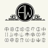 Set  template letters to create monograms. Of two letters in scribed in a circle in Art Nouveau style Royalty Free Stock Photo