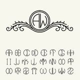 Set  template letters to create monograms Royalty Free Stock Photo